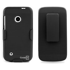 For Nokia Lumia 530 Black Belt Clip Holster Kickstand Hard Cover Protective Case