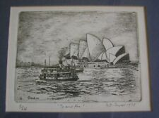 """Signed Etching of Sydney Opera House Australia """"To and Fro"""" 1978"""