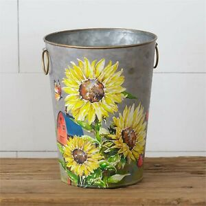 Country metal Bucket with Sunflowers