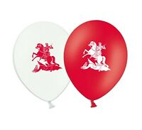 """St George & Dragon 12"""" Red & White Assorted Latex Balloons pack of 6"""