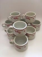 Shenango Coffee Mug Red Chardon Rose Lot of 9 USA Vintage