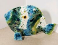 "Unmarked White, blue, Yellow, Green Pottery Fish 8.5"" long and 5.5"" tall"
