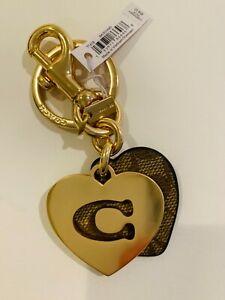 Coach Signature Hearts Key Ring Bag Charm Purse Keychain Gold / Khaki 91478