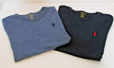 Mens Lot of 2 Polo Ralph Lauren Custom Fit T-Shirt S Crew Neck Navy Heather Blue