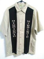 Cubavera Mens Size Medium Tan Black Geometric Short Sleeve Button Up Shirt