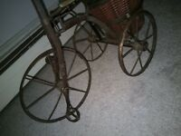 Miniature Antique Bicycle with basket. Chariot like wheels. Pre-owned