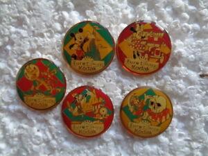 Job lot of 5 Euro Disney & Kodak cartoon character metal lapel pins