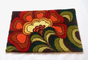 70s PSYCHEDELIC FLOWER MID CENTURY ORIGINAL ABSTRACT VINTAGE CARPET RUG