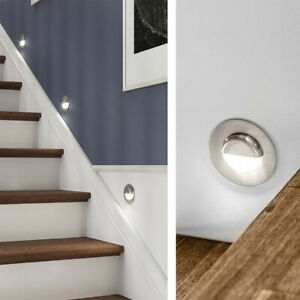 CGC Stainless Steel Small Round Eyelid Stair Plinth Light Down Up LED Mood UK
