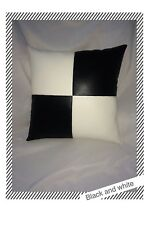 Black white pillow leather complete case throw cushion cover 17 x 17 new custom
