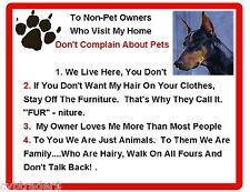 Funny Dog Doberman Pinscher House Rules Refrigerator / Magnet Gift Card Insert