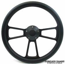 "14"" Black Muscle Aluminum Steering Wheel w/ Adapter Boss 69-94 Chevy GM Columns"