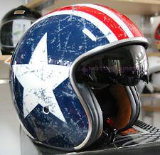 Casco JET Bandit VINTAGE America Custom Origine Rebel STAR Visiera Scura Moto