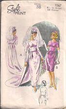 "Vintage Uncut Bridal Gown Sewing Pattern ST1567 Size 38"""