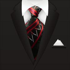 New Classic Striped WOVEN JACQUARD Silk Men's Suits Tie Necktie Red M107
