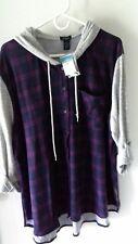 Rue 21+ Women's 3x Plus Size 3/4 Sleeve Shirt Purple Black & Gray NWT