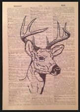 Vintage Stag Head Deer Print Antique Dictionary Page Wall Art Picture Hunting