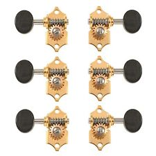 Waverly Guitar Tuners with Ebony Knobs, for Solid Pegheads, Gold, 3L/3R