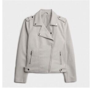Grey Faux Suede Biker Jacket Size 16. New Gift
