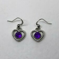 SWEET SMALL OPEN HEART DROP EARRINGS PURPLE ACRYLIC CRYSTAL SILVER PLATED  hook