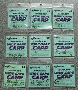DRENNAN BARBLESS WIDE GAPE CARP SPADE END HOOKS X 3 PACKS BULK - CLEARANCE