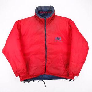Vintage HELLY HANSEN Big Logo Reversible Red 00s Nylon Puffer Jacket Mens 2XL