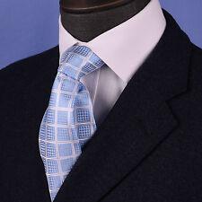"Light Blue Diamond Check 3.15"" Wide Tie Gray Striped 8cm Necktie Formal Business"