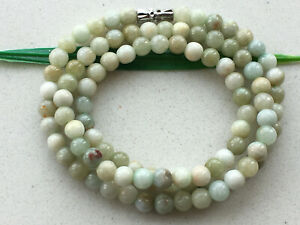 """5.5mm Certified 100% Natural 20"""" Light green Jadeite Beads Beaded Necklace 1300"""