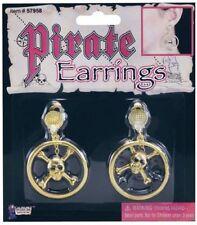 Pirate Skull Metal Ear Rings Jewellery for Sailor Buccanneer Fancy Dress Jewelle