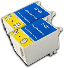 2 T037 Color no-OEM Cartuchos de tinta para Epson Stylus C42UX C44 C44 Plus
