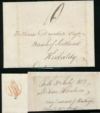 SCOTLAND 1803 PERTH BETWEEN LINES in RED to DRYSDALE KIRKALDY