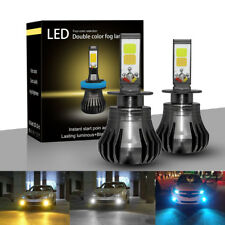 2x100W H3 LED Fog Light Driving Bulb 9600LM Dual Color White Yellow 6000K 3000K