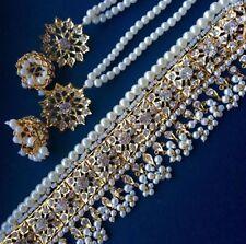 Indiano Nuziale Gioielli Set, placcato in oro Orecchini Collana Girocollo Perle Jhumka