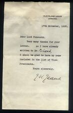 1938 Autograph letter SIR JAMES JEANS Astronomer & Scientist to LORD PONSONBY