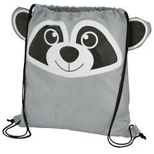 Raccoon - Childrens Animal Draw String Backpack Sport Pack Tote Bag