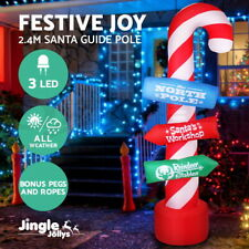 JingleJollys Inflatable Christmas 2.4M Candy Pole Lights Xmas Outdoor Decoration