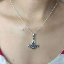 Beautiful Thor Hammer Charm Silver Chain Necklace.