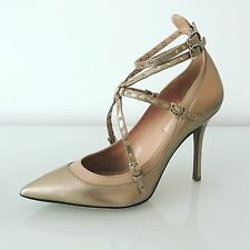 Valentino Love Latch Metallic Gold Leather Ankle Strap Pumps Size 38.5 RP£640