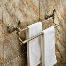 """Antique brass Classic bathroom brass double towel bar With flowers  26""""Length"""