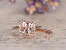 1.90Ct Cushion Cut Morganite Diamond Bridal Engagement Ring 14K Rose Gold Finish