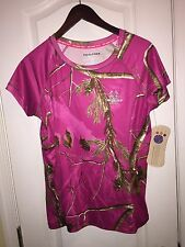 NWT RealTree AP Pink Camoflauge Hunt Short Sleeve T-Shirt Sports Top Women's S