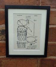 """USA patent vintage basket ball objectif net sport monté print 10 """"x 8"""" DON 1925"""