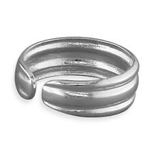 Wrap around Plain Double Ridged Solid Sterling Silver Toe Ring