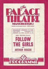 "Arthur Riscoe ""FOLLOW THE GIRLS"" Joy Nichols / Guy Bolton '48 Manchester Program"