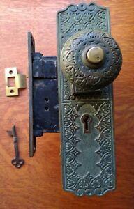 Antique Fancy Bronze Door Set, Plates, Push Button Knobs, Lock Prouty's  Pat1882