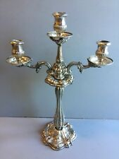 Silver Plated Three Branch Candelabra embossed w/Floral Fruit  grape,pineapple..