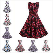50's Women Summer Floral Mini Dress Sleeveless Hepburn Style Retro Swing Dress