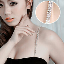 1Pair Adjustable Double Rows Diamante Crystal Rhinestone Bra Shoulder Strap Belt