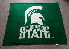 "Vtg Biederlack Michigan State University Spartans 56x47"" Green White Blanket MSU"