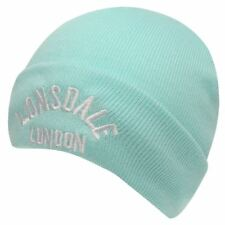 WOMENS BLUE LONSDALE BOXING GYM WOOLLY KNIT KNITTED SKI WINTER BEANIE BEENIE HAT